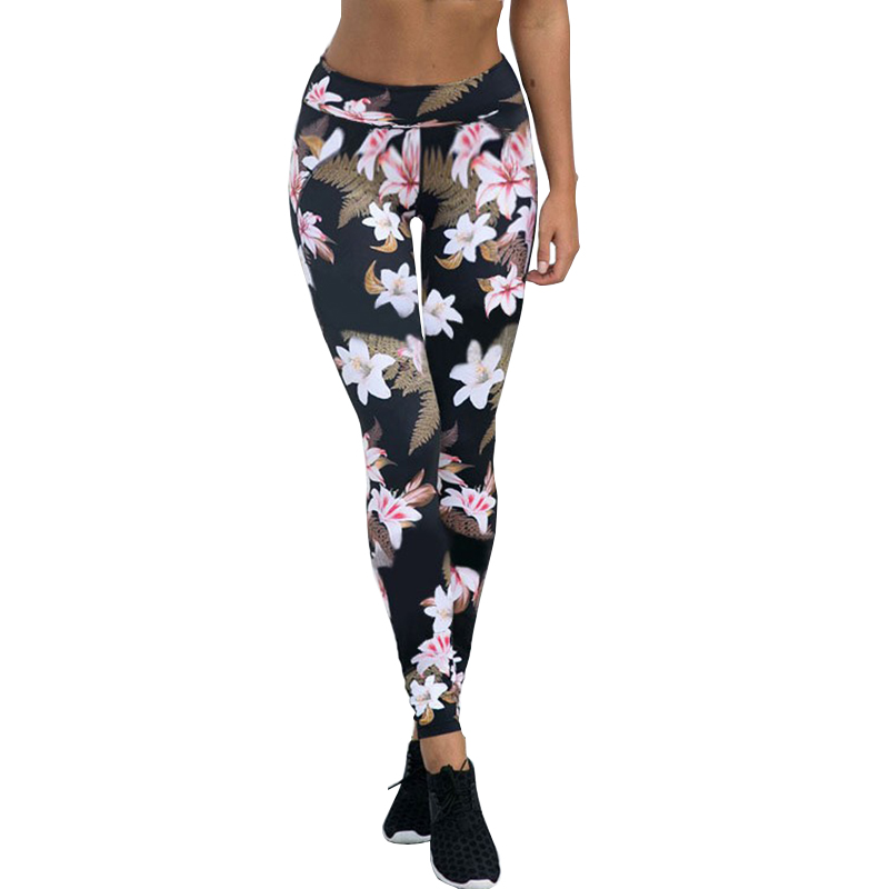 Woman Sports Yoga Leggings Net Yarn Patchwork Lively Floral Pattern Printing Gym Fitness Elastic Sports Pants Breathable SCL333