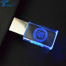 Trangee Crystal USB Flash Drive for FIAT Logo 4GB 8GB 16GB 32GB USB 2.0 Memory Drive Stick Pen/Thumb/Car Gift with LED Light