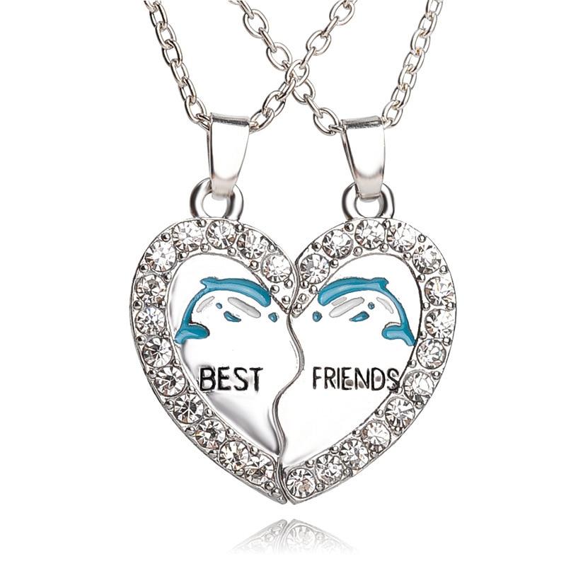 2 pieces split heart couple best friend pendant necklaces
