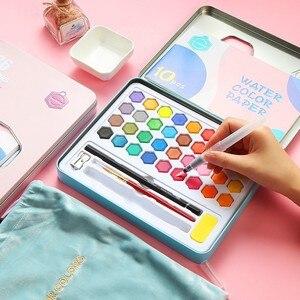 Image 4 - Di alta Qualità 36 Colori Portatile Da Viaggio Solid Pigment Colori Ad Acquerello Set Con Pennello Penna Acquerello Per La Pittura Rifornimenti di Arte