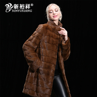 XINYUXIANG Real mink fur winter coat for women Long thick warm stand collar jackets Genuine Leather Natural mink fur coats