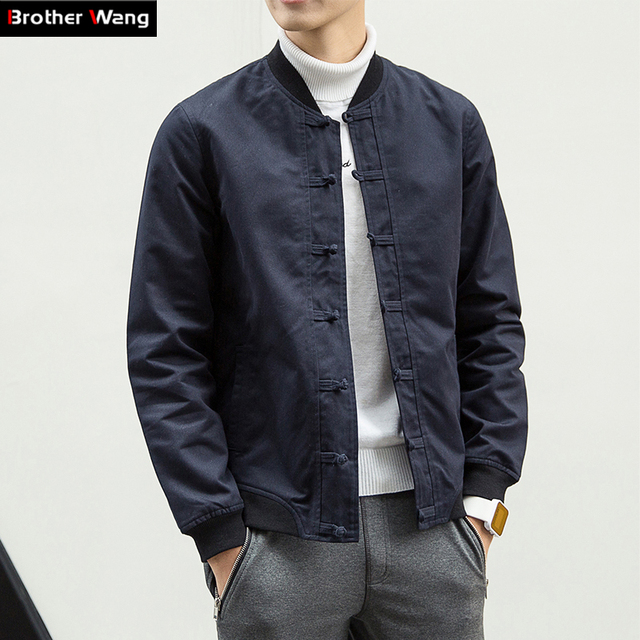 Chinese style Men's Jacket Men fall new big yards coat casual Pankou South Wudang solid jacket 4XL 5XL 6XL