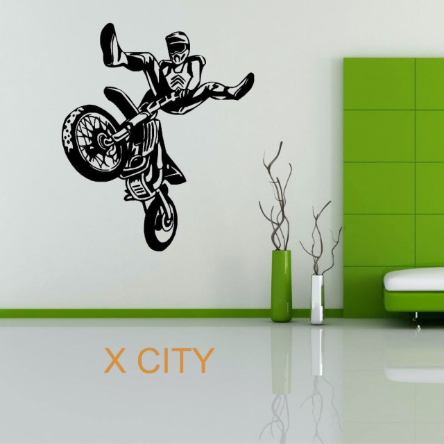 Moto x motocross wheelie motorbike sport creative vinyl wall decal art decor sticker living room door