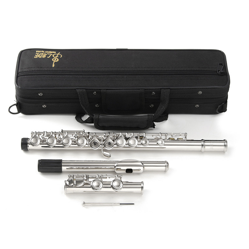 Silver Cupronickel Nickel Plated 16 Hole C Key Flute Kit with Case Cover Parts For Musical Instrument Beginners wooden flute case hard case rosewood color durable 17 hole b foot flute also c foot flute