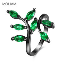 MOLIAM Leaf Design Female Ring Black Gun Plated Promise Engagement Rings For Women Blue Green CZ