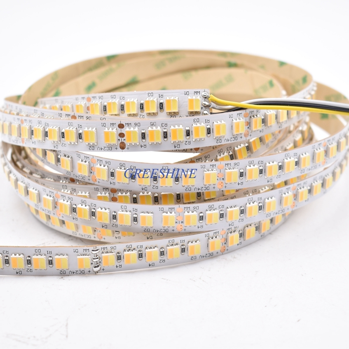 28.8W 120leds/M 5050 2in1 Strip Light CCT Two Color Temperature Adjustable led strip Dimmable Tape 100M/lot DHL Free shipping
