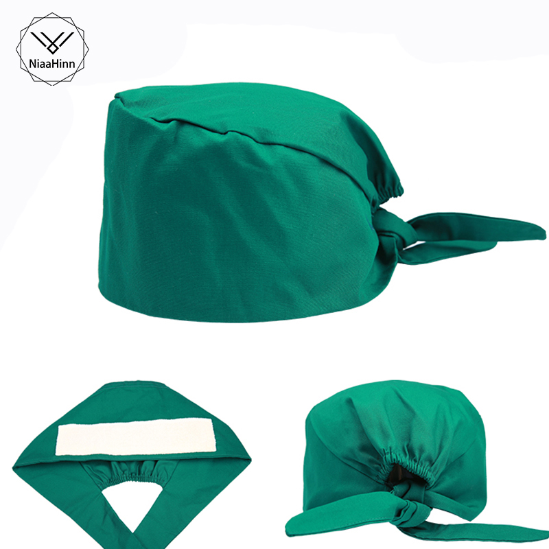 Green Unisex Pharmacy Nurse Cap Doctor Surgical Hospital Hat Adjustable Medical Cap Scrub Lab Clinic Dental Operation Hat Mask