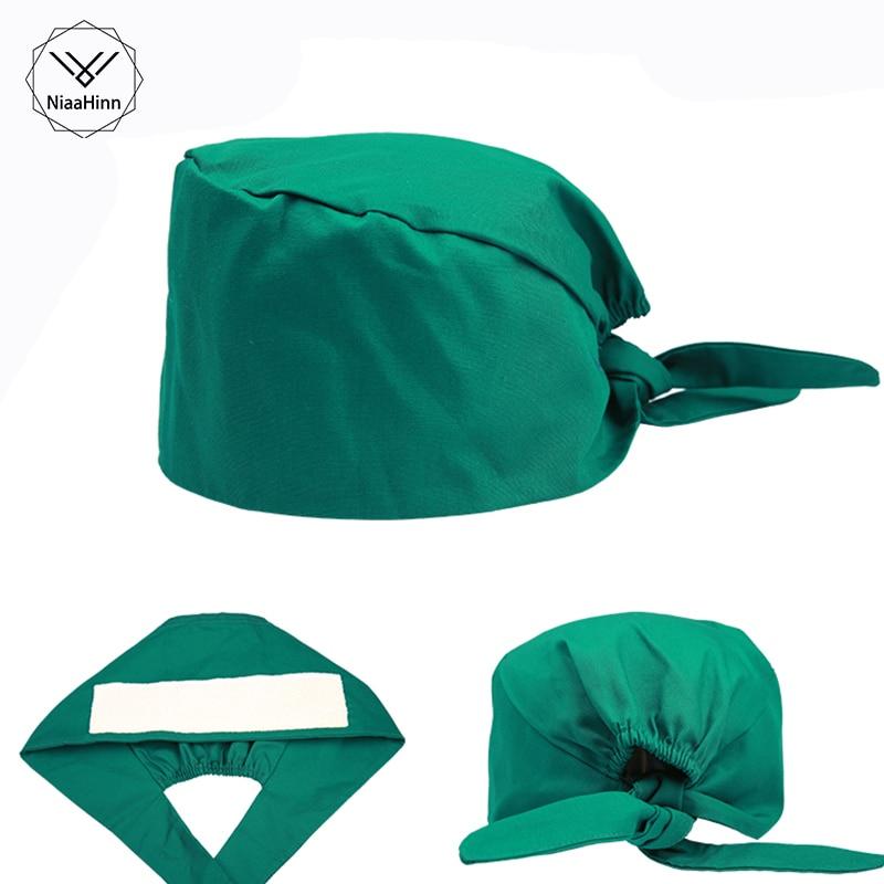 Green Unisex Pharmacy Nurse Cap Doctor Surgical Hospital Hat Adjustable Medical Cap Scrub Lab Clinic Dental Operation Hats