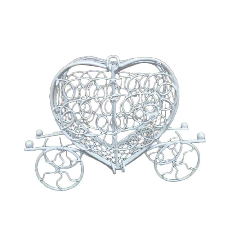 Novo metal amor coração carruagem aniversário festa de casamento chocolate caixa de doces titular presente