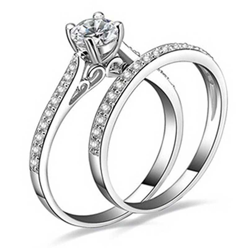 2 Pieces / Set Of Fashion Women'S Elegant Four-Claw Inlaid Crystal Couple Engagement Ring Couple Ring