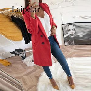 Image 5 - Abrigo de primavera y otoño a la moda para mujer, chaqueta elegante para todos los días, abrigo de lana fino de longitud media, 2020