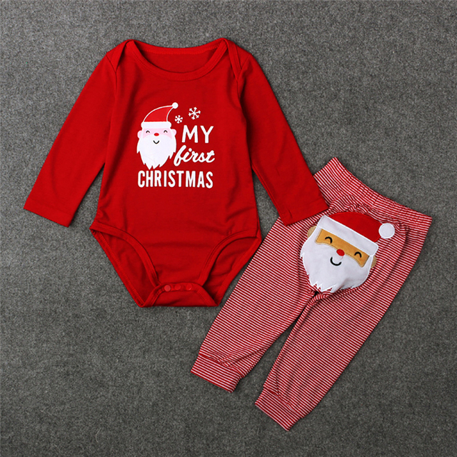 """""""My First Christmas!"""" 2PC/Set - Long Sleeve Cotton Onsie + Deer Pants X-Mas Outfit 1"""