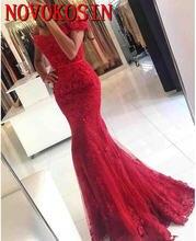 Красное вечернее платье Русалочки с открытыми плечами бисером