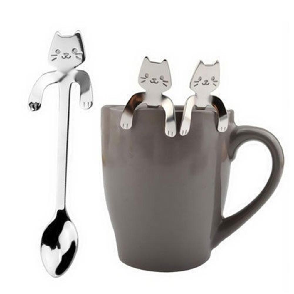 Mounchain Cute Cartoon Cat Stainless Steel Handle Hanging Tea Coffee Spoon Ice Cream Cutlery Tableware Outdoor Camping Picnic 4 in 1 stainless steel foldable camping cutlery