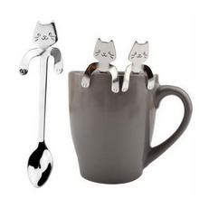 Mounchain Leuke Cartoon Kat Rvs Handvat Opknoping Thee Koffie Lepel Ijs Bestek Servies Outdoor Camping Picknick(China)