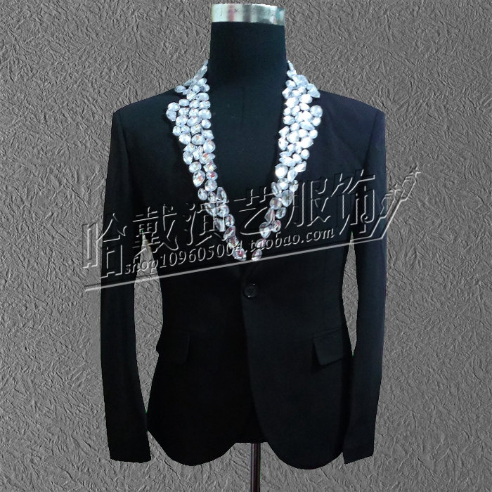 S-5XL!!!2017 Fashion The new diamond acrylic costumes male singer han edition cultivate one's morality evening dress bar stage
