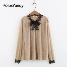 Korean Style Lace Tops Women Spring Summer Tees Casual Bow V-neck Long Sleeve T-shirts Plus Size XXXL 4XL KKFY3322