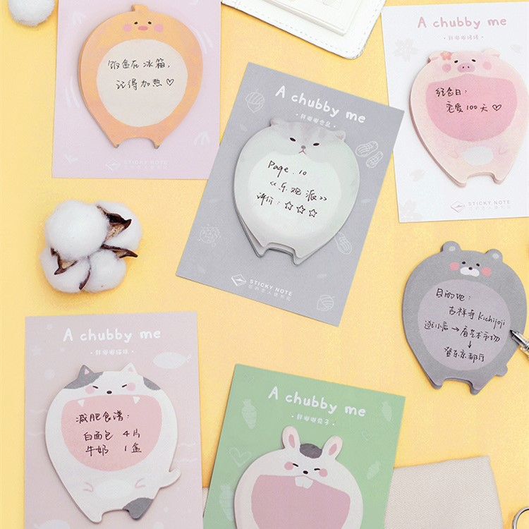 30 Sheets/pad Chubby Cute Animals Sticky Notes Cute Weekly Plan Schedule Self Stick Memo Pads Notes Pads Office School Supply