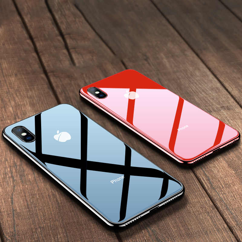 Tempered Glass Phone Case For iPhone X XS Max 7 8 Plus 6 6S Plus Hard Protective Glass Cases For iPhone XS XR Back Cover Coque