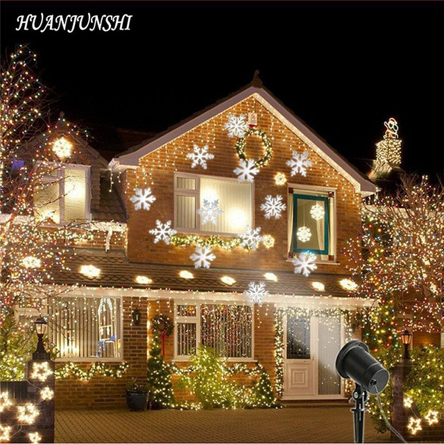 Waterproof Snowflake 12 Patterns Outdoor Projection Light Lamp Led Film Lawn Holiday With Remote Control