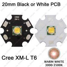Cree XLamp XM-L XML T6 10 Вт Теплый Белый 3000 К Высокой Мощности Светодиодные Лампы 900LM для фонарик на 20 мм Белый или Черный PCB
