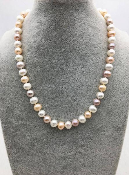 100% bijoux en perles réelles, 9-10mm 18 pouces blanc rose violet collier de perles d'eau douce, fête des femmes, amour, cadeau de fête des mères