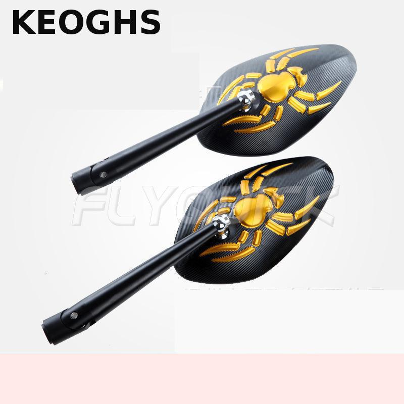 KEOGHS Motorcycle Rear Side Mirror Cnc Aluminum Spider 8mm 10mm For Motorbike Scooter Street Bikes Honda R1 R3 R6 Fz6 Gsx universal cnc aluminum rear side rearview mirrors for street bikes cruisers choppers dirt monkey bike scooter moptorcycle endruo