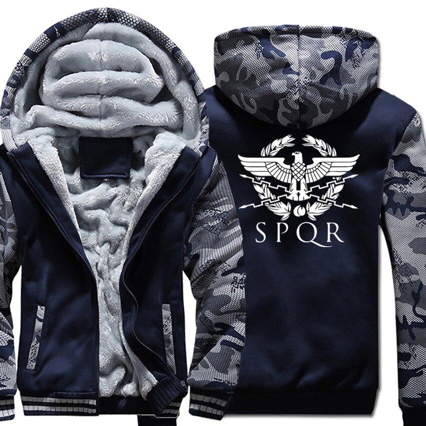 Men Thicken Hoodies Harajuku Sweatshirts Winter Warm Coats Zipper Casual Streetwear Jackets SPQR Roman Camouflage sleeve Tops