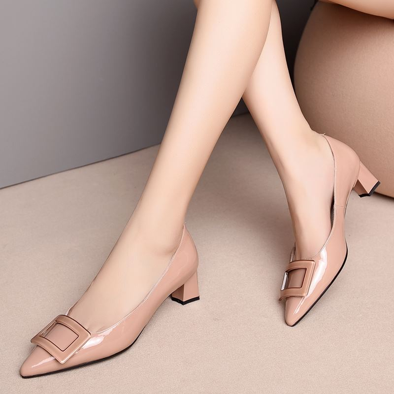 Image 3 - ALLBITEFO pinkycolor genuine leather high heels women shoes high quality women high heel shoes office ladies shoes women heels-in Women's Pumps from Shoes