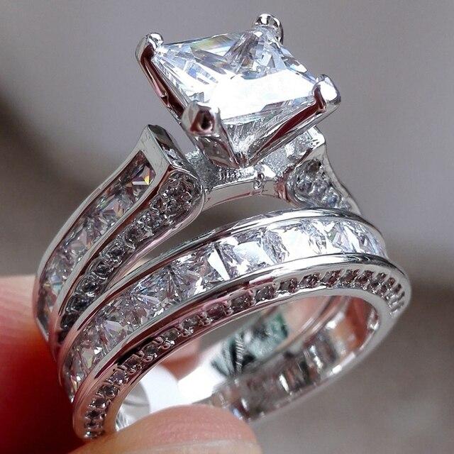 Shuangr Fashion Dimond Ring Silver Color Fashion Square Wedding