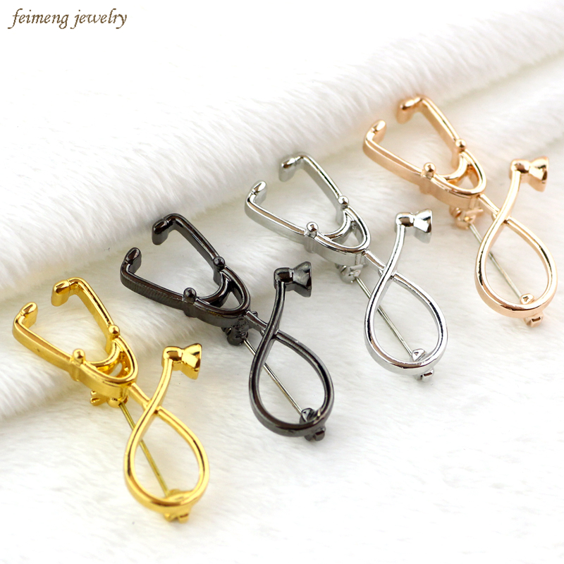 4 colors stethoscope brooches fashion medical jewelry stethoscope pin for nurse physicians - Regalos para enfermeras ...