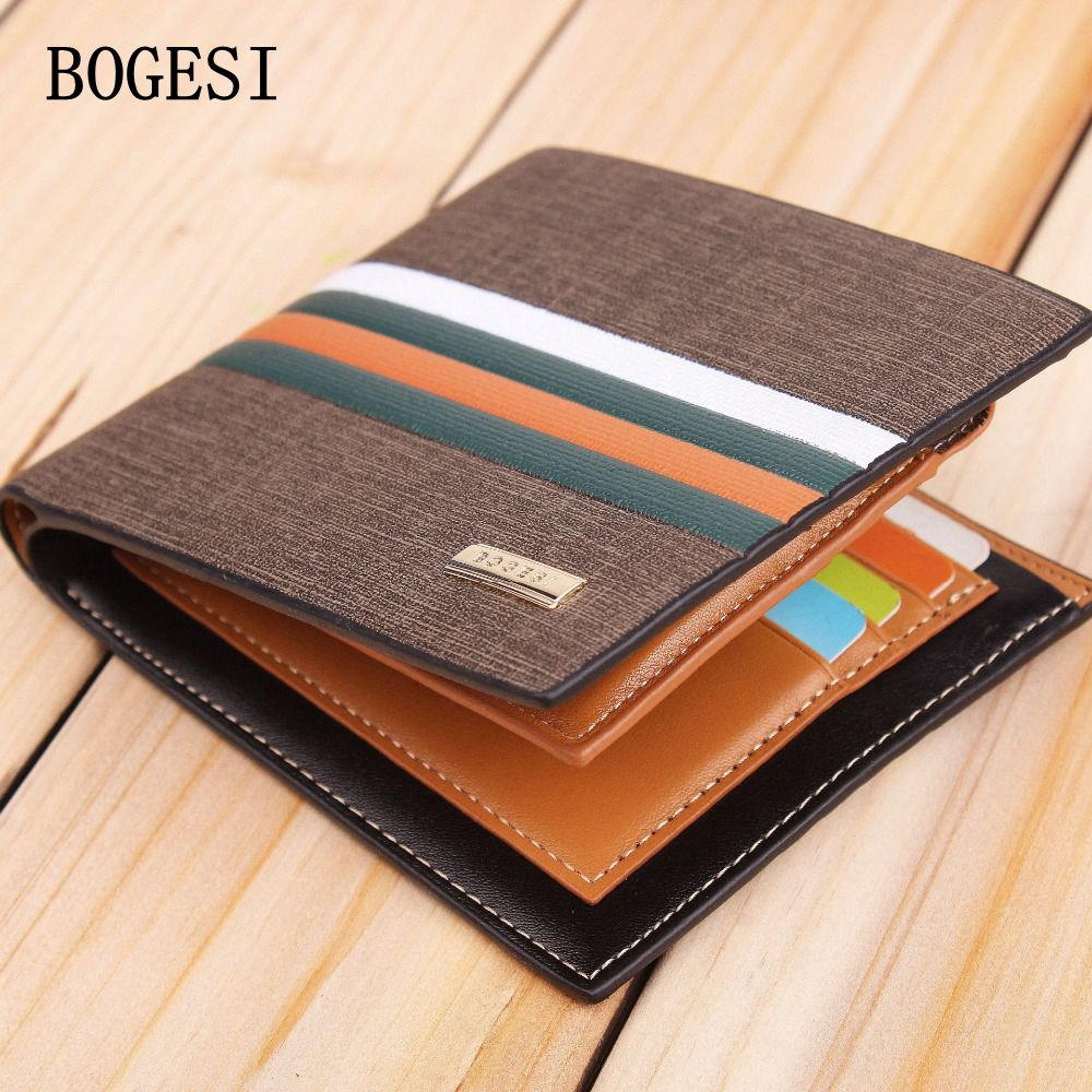 BOGESI New Arrivel Mens Wallet Designer Men Wallets Famous Brand Purse With Card Pocket Brown Solid Short Male Standard Wallets