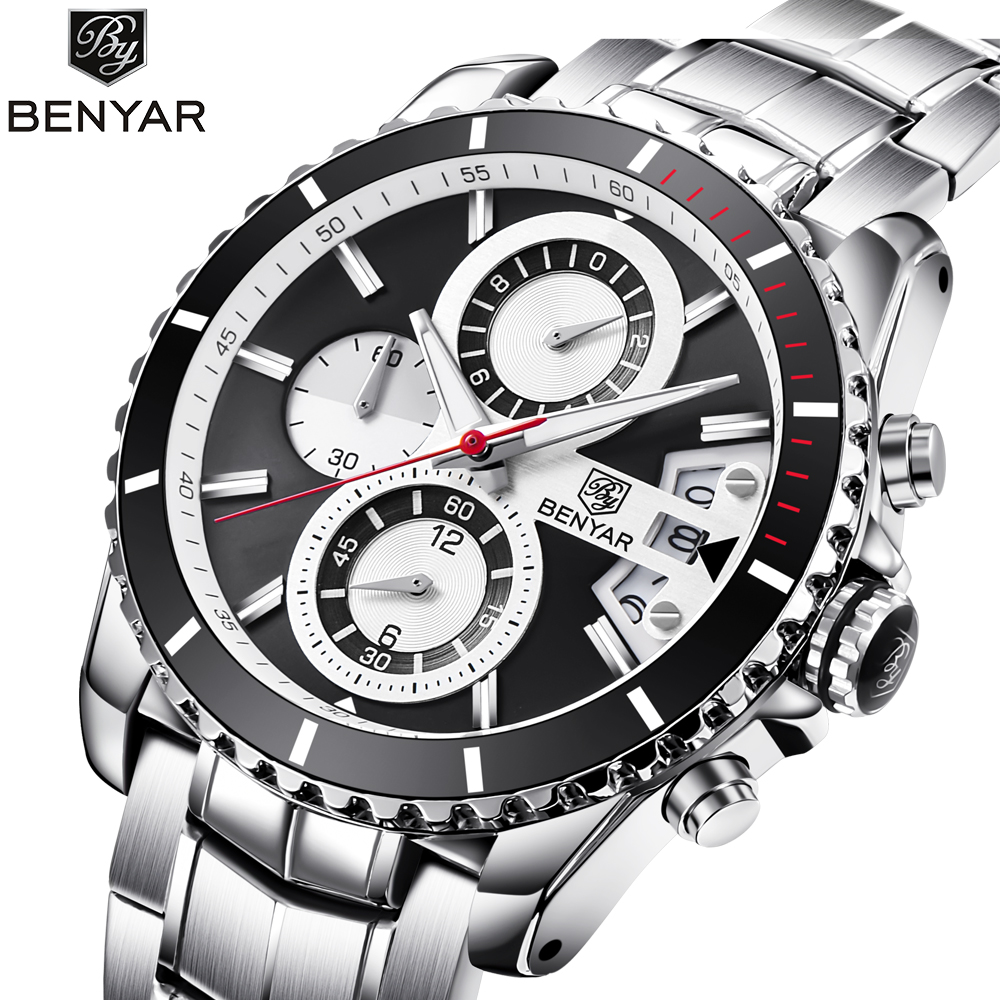 BENYAR Luxury Brand Full Steel Chronograph Sport Watch Men Quartz Business Mens Watches Calendar Waterproof Mens Wrst WatchesBENYAR Luxury Brand Full Steel Chronograph Sport Watch Men Quartz Business Mens Watches Calendar Waterproof Mens Wrst Watches