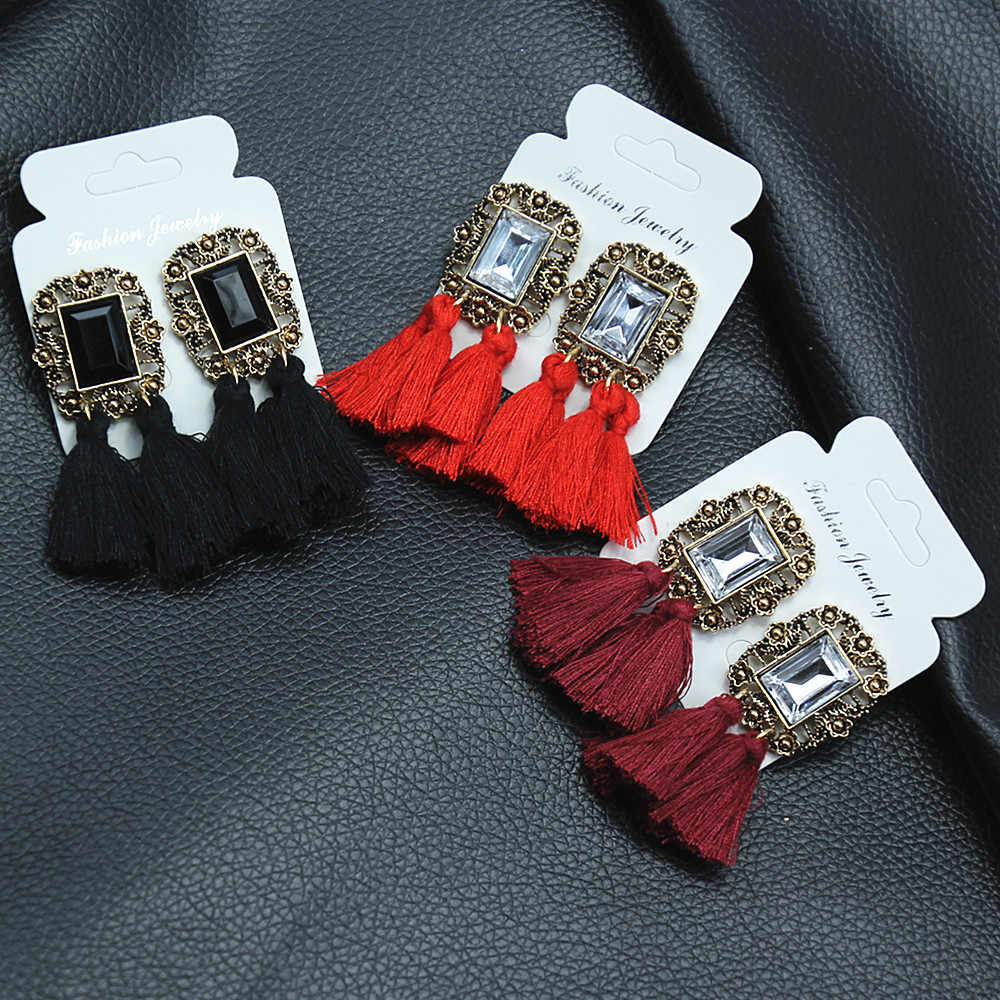 2018 New Women Tassel Earrings Boho Bohemian Long Silk Fabric Dangling Earrings Women's Personalized Fashion Drop Earrings A05