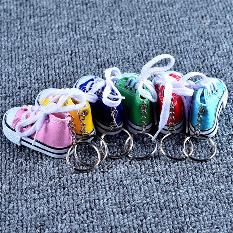 Romad حذاء قماش صغير المفاتيح للرجال النساء الطفل الأزرق الوردي أسود أبيض أحذية رياضية المفاتيح كيرينغ حلية مجوهرات llaveros