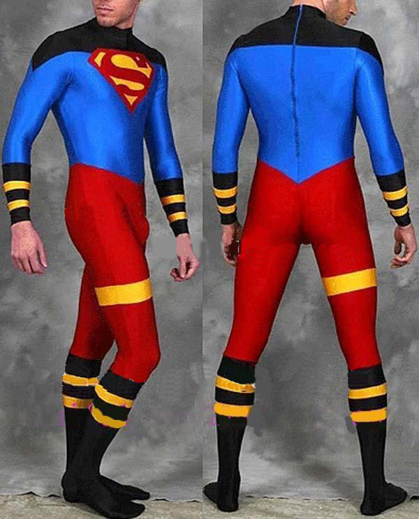 Red And Blue Superman Costume Spandex Newest Tight Fullbody Superman Halloween Comic Cosplay Zentai Suit