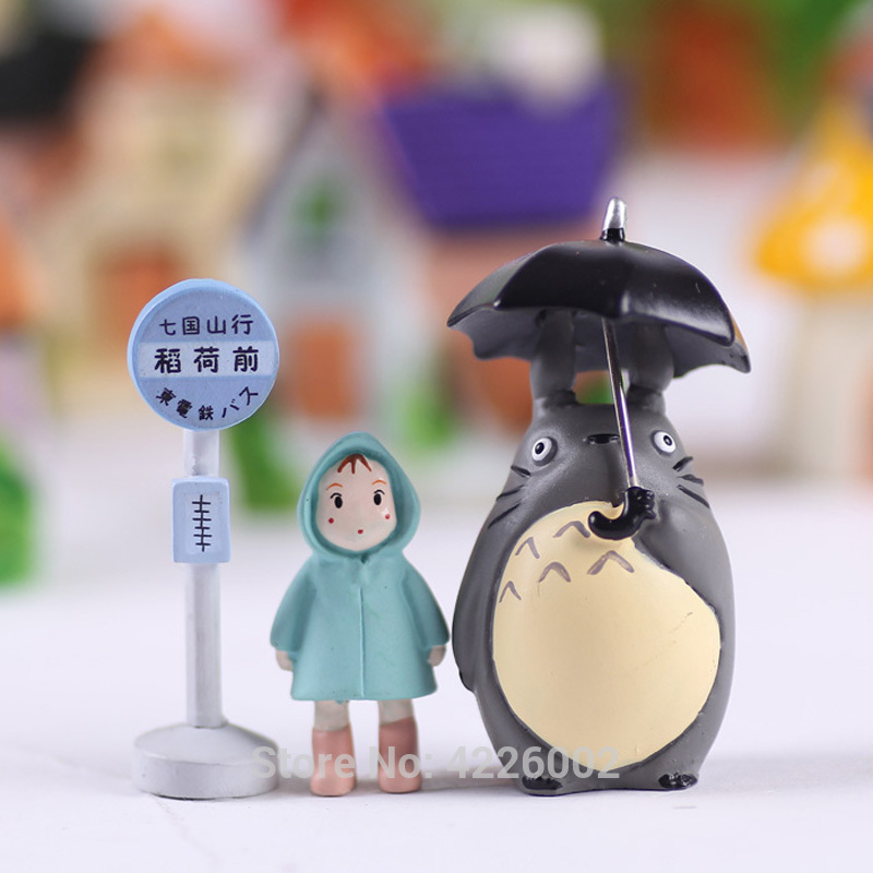 Umbrella-Set Dolls Gnome Model Terrarium-Figurines Garden-Decor Totoro Neighbor Studio Ghibli