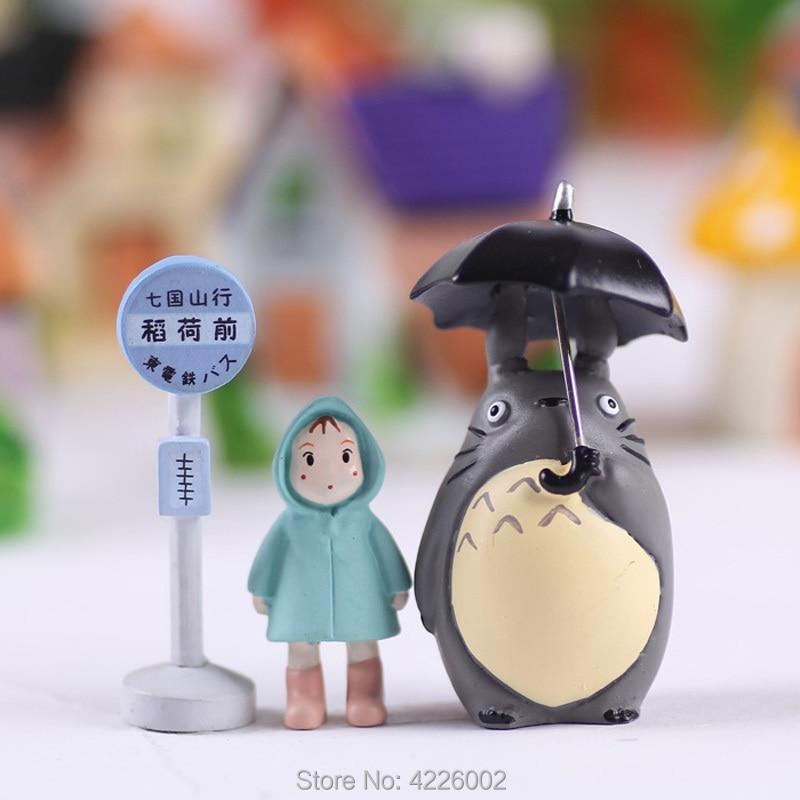Studio Ghibli My Neighbor Totoro Umbrella Set Model PVC Action Figures Mei Dolls Gnome Terrarium Figurines Mini Garden Decor(China)
