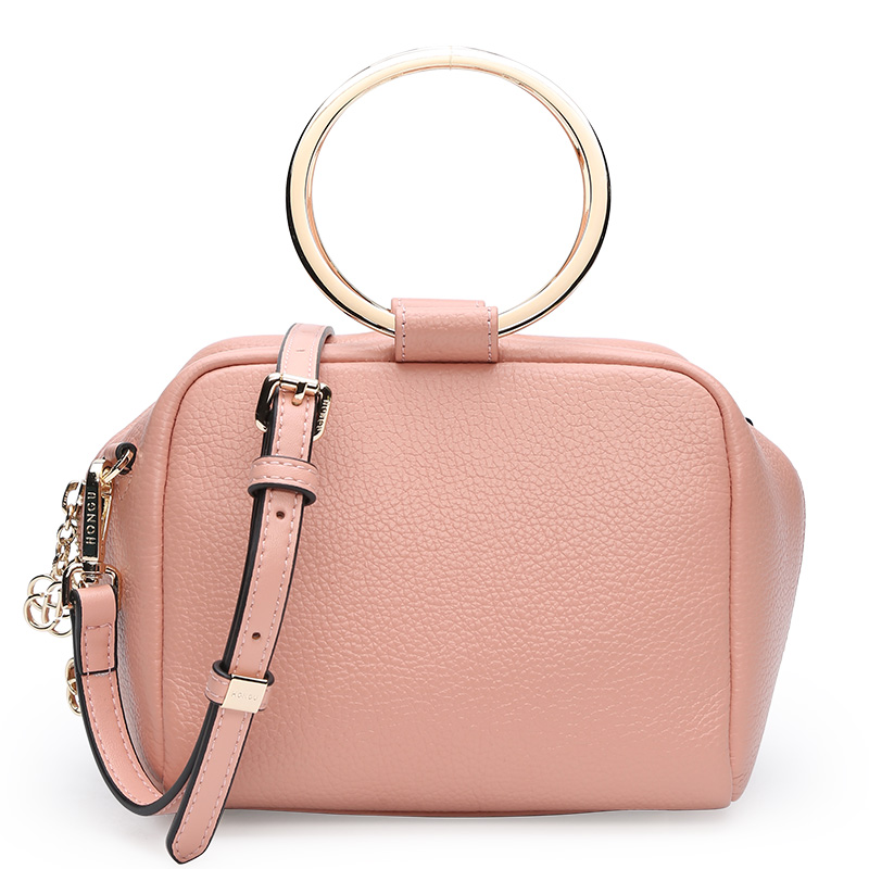 Fashion trend pillow-shaped women leather handbags Korean version of the leisure ring handle lychee Calfskin Messenger bag qiaobao 2018 new korean version of the first layer of women s leather packet messenger bag female shoulder diagonal cross bag
