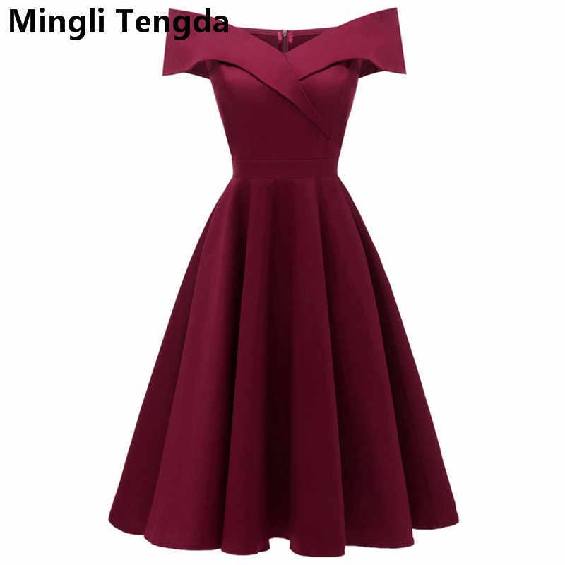 Mingli Tengda Borgoña té longitud Vestidos De dama De Honor Simple satén moda barata Vestidos De fiesta De boda Vestido De dama De Honor