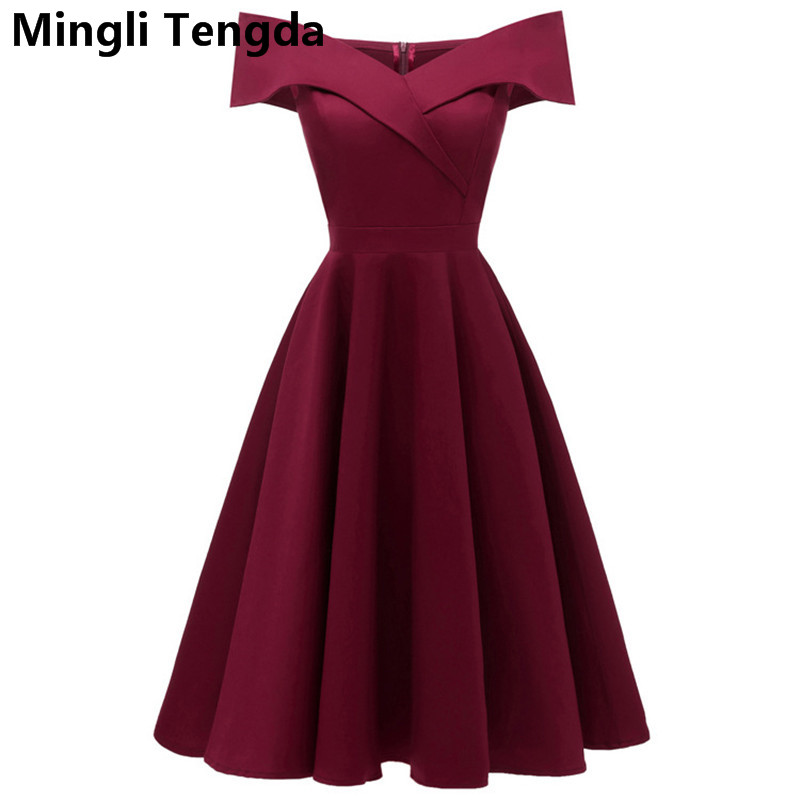 Mingli Tengda Burgundy Tea Length Bridesmaid Dresses Simple Satin Cheap Fashion Vestidos De Festa Wedding Party Gown Maid Honor