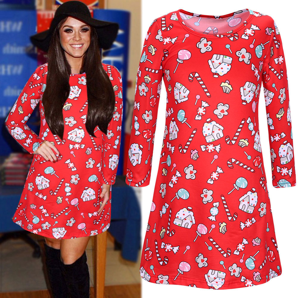 Christmas Eve Dresses.Fashion New Red Lollipop Christmas Dress Womens Christmas