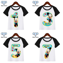 Boys Cartoon Mouse Birthday Numbers 1-9 Print T Shirt Funny Clothes Children Summer T-shirt  Kids