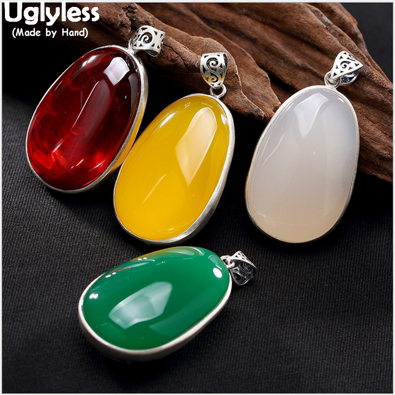 Uglyless Real 999 Fine Silver Natural Chalcedony Women Sweater Necklaces without Chains Carved Goddess of Mercy Pendant Jewelry цены