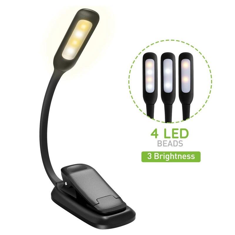 USB Led Okuma Kitap ışık TopElek 3 seviyeleri parlaklık göz koruma yumuşak masa lambası klip Kitap Okuma Lambasi Leeslamp