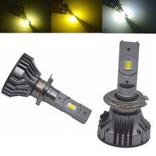 Phares de voiture H4 LED H1 H11 9005 9012 H7 LED, phares de voiture à 3 couleurs changeantes 3000K 4300K 6000K flash 72W, feux automobiles 9006 HB3/4 2 pièces