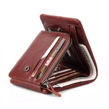 Cobbler Legend 100% billetera de cuero genuino para hombre, billetera Vintage con tres pliegues, monedero con cremallera, billetera de cuero de vaca