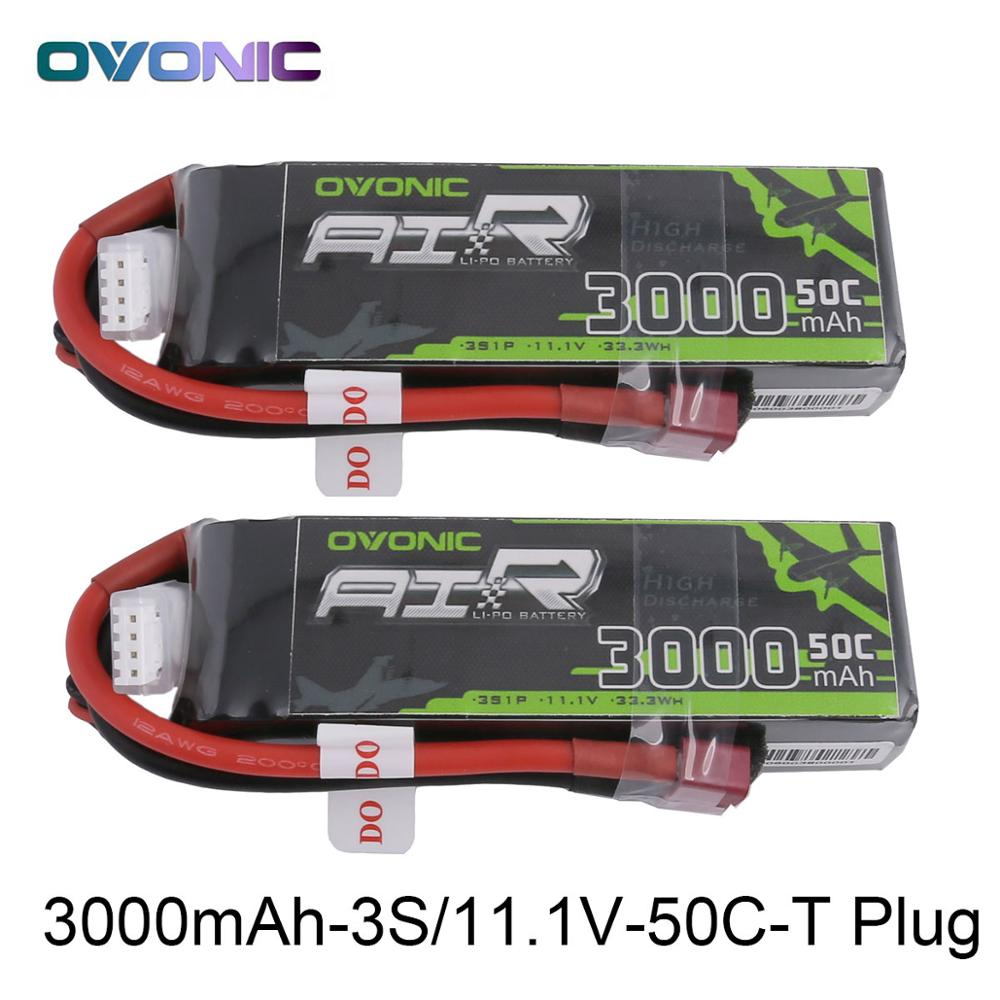 2X Ovonic 11.1V 3000mAh 50C-100C LiPo 3S Battery Pack with XT60 Deans Plug for Glider RC 3D plane 400mm X-Sled Helicopter Quad