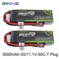 2X Ovonic 11.1V 3000mAh 50C 100C LiPo 3S Battery Pack with XT60 Deans Plug for Glider RC 3D plane 400mm X Sled Helicopter Quad