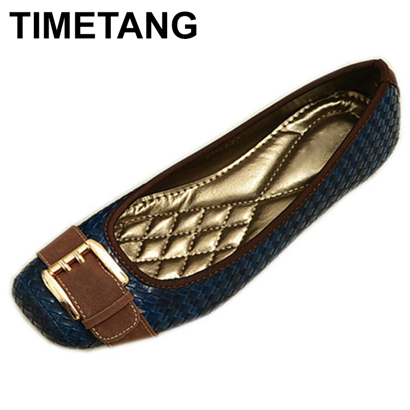 цены TIMETANG 2018 Buckle knitted Women Single Shoes Square Toe Ballet Flats Soft Bottom Fashion Work Shoes Woman Flat shoes  C084